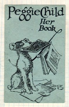 bookplate for Peggie Child depicting dog holding chewed up book in its mouth / McGill University Library, Rare Books and Special Collections, Montreal, Quebec, Canada