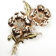 Trifari 'Alfred Philippe' Two Colour Gold Two Poppies on a Double Stem Pin Clip