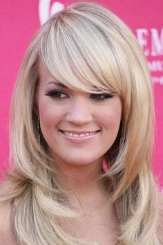 Long layered hairstyles with bangs for round faces