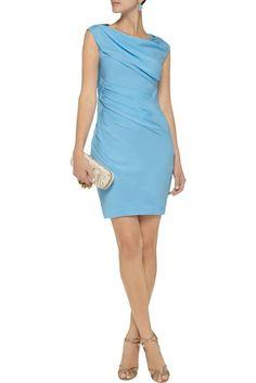 DVF Diane Von Furstenberg Ameerah Blue 95%Silk Ruched Crepe Dress US 10 NEW$500$ #DianeVonFurstenberg #Cocktail