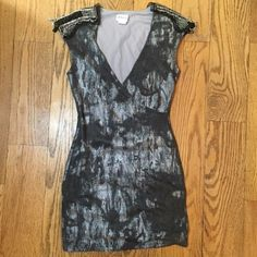 Frederick's of Hollywood Minidress Small Frederick's of Hollywood gray/silver dress with detailing on the shoulders. Size small. Frederick's of Hollywood Dresses Mini