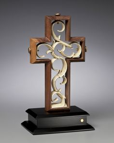 Unity Cross - Old Rugged Solid Black Walnut with Vintage Ivory