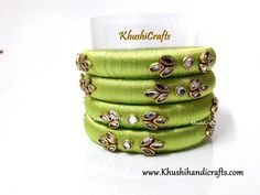 Lime Green silk thread Necklace set with a set of elegant bangles! Silk Thread Jhumkas, Silk Thread Bangles Design, Silk Thread Necklace, Kundan Bangles, Silk Bangles, Bridal Bangles, Fancy Jewellery, Thread Jewellery, Antique Jewellery