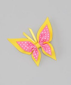Look at this #zulilyfind! Yellow Swiss Dot Butterfly Clip by Picture Perfect Hair Bows #zulilyfinds
