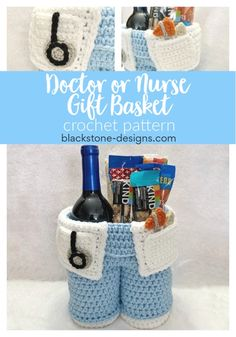 Doctor or Nurse Gift Basket crochet pattern from Blackstone Designs  #doctor #nurse #giftbasket #crochet #crochetpattern #healthcare #medical #diy #crochetbasket #wine #winetote #winebasket #doctors