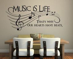 "Amazon.com - Music Is Life.. That's Why Our Hearts Have Beats Vinyl Wall Decal Sticker Art (Small 23"" X 10"")"