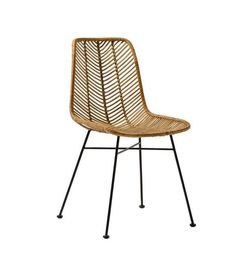 Bloomingville Lena Dining Chair in Natural Rattan and black iron frame. The curvy seat is woven in rattan to create a herring bone unique pattern. Rattan Dining Chairs, Solid Wood Dining Chairs, Rattan Furniture, Metal Chairs, Upholstered Dining Chairs, Dining Chair Set, Side Chairs, Outdoor Chairs, Home Furniture