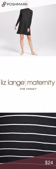 New LIZ LANGE Maternity Stripe Mock-Neck Dress NWT available in size M   L   XXL new with tags & without tags  M bust 40, length 38 NWOT L bust 42, length 39 NWOT XXL bust 46, length 39 NWT  details - black & white - striped - ribbed - long sleeve - mock neck - swing style  @cjrose25 Liz Lange for Target Dresses Mini