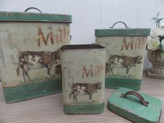 Shabby Chic Green Vintage Metal Milk Design Kitchen Storage Set