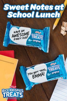 Send your kids back to school with hand-written Rice Krispies Treats notes for their lunch box. They'll appreciate the encouragement this back to school season just as much as the tasty sweet!