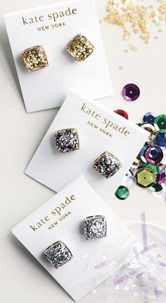 Kate Spade Multicolor Glitter Stud Earrings Who doesn't love glitter! Grab these sparkly glitter fun party-perfect stud earrings! Comes in original gift box! Bling Bling, The Bling Ring, Jewelry Accessories, Fashion Accessories, Fashion Jewelry, Trendy Accessories, Fashion Earrings, Diamond Are A Girls Best Friend, Mode Style