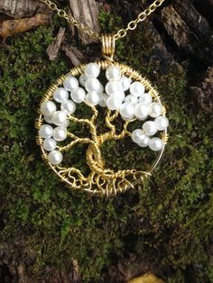 Tree Of Life Necklace Pearl Pendant On Gold by Just4FunDesign, $27.00. its beautiful