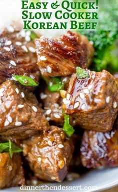 Slow Cooker Korean Beef with just 10 minutes of prep makes the easiest ...