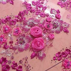New Pink with purple chiffon flowers on netting lace fabric dress/table cover fabric width by the yard Tambour Embroidery, Couture Embroidery, Hand Embroidery Designs, Hand Work Design, 3d Rose, Embroidered Lace Fabric, Doll Sewing Patterns, Beaded Flowers, Chiffon Flowers
