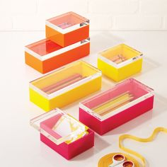 Acrylic Boxes in Three Colors design by Twos Company ($92) ❤ liked on Polyvore featuring home, home decor, small item storage, two's company, acrylic box and colored boxes