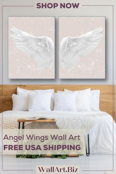 FRAMED & FREE USA SHIPPING Angel wings canvas prints are the perfect bedroom art set. As you can see all of the colors work well above a bed, cabinet or sofa. They are versatile prints that work well as bedroom art, living room decor or as home office artwork. Frame: 1.5'' Gallery Wrap Bedroom Canvas, Bedroom Artwork, Office Artwork, Home Decor Bedroom, Canvas Wall Art, Living Room Decor, Canvas Prints, Angel Wings Decor, Angel Wings Wall Art