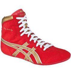 bcc086531e6 Asics Dave Schultz Red Gold White Wrestling Shoes Wrestling Singlet