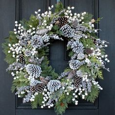 Christmas Wreaths For Front Door, Holiday Wreaths, Christmas Decorations, Front Door Wreaths, Winter Wreaths, Dusty Miller, Rustic Winter Decor, Winter Christmas, Merry Christmas
