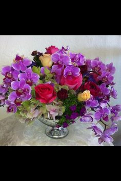 Orchid and hydrangea centerpiece by Robyn