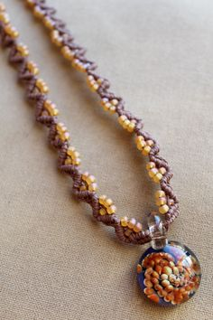 Glass Flower Macrame Hemp Necklace  by PerpetualSunshine111, $34.00