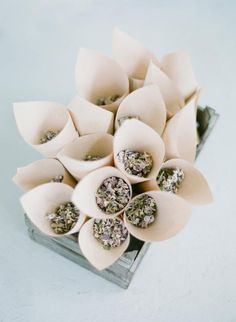 "Lavender Petal Cones / Kelly & Taylor's Bohemian Beachside Wedding ""Here Comes The Sun"" on The LANE / Jemma Keech Photography. (instagram: the_lane)"