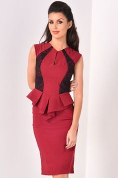 Nadia Peplum Midi Dress in Wine