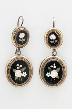Pair of earrings (pietra dura), early 19th cent. | In the Swan's Shadow