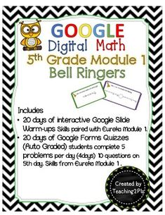 Help your 5th grade math students maintain and master skills introduced in Eureka Module 1, with this engaging, interactive digital spiral review activity! This self-grading daily cumulative review will allow you to collect and view student data in order Teaching Tips, Teaching Math, Classroom Activities, Classroom Ideas, Eureka Math, First Day Of School Activities, Bell Ringers, Student Data, 5th Grade Math