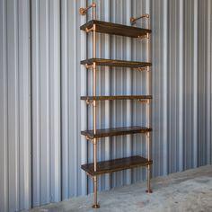 Industrial Pipe Shelving Unit, Pipe bookshelf, Pipe bookcase, Pipe shelving, Industrial Copper Color and Dark Walnut Pine Bookshelves by IndustrialEnvy on Etsy https://www.etsy.com/listing/269815798/industrial-pipe-shelving-unit-pipe