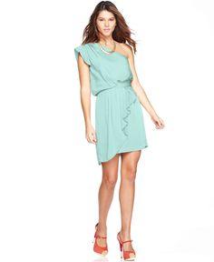 BCBG one shoulder ruffled dress
