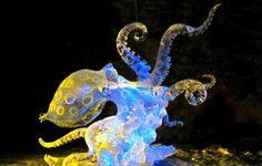 Beautiful Colored Ice Sculptures in Alaska. Octopus #eccosmile #sculptured65
