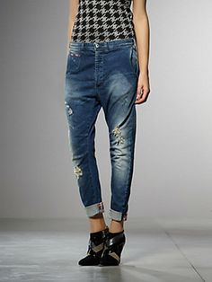 Buy Antifit stretch denim jeans, with detailing in check pattern fabric , ripped, medium washed, also to be worn with turn-ups