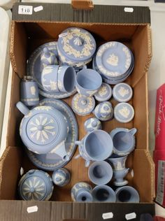 Top 25 Highest Selling Lots - Collectors & General Auction – Lot 118 – A good collection of Wedgwood jasperware items to include teapot, cups, saucers, trinket boxes, platters, urns etc (40 pieces).  Sale Price £190.00