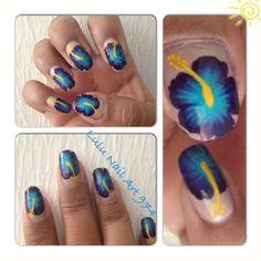 Nail art Hibiscus power!! Peinture acrylique Jo Sonja's. -  Lulu Nail Art 974