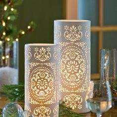 Pierced Porcelain Table Lamps