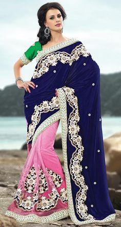 $199.01 Blue and Pink Resham Work Half Net Wedding Saree 23562