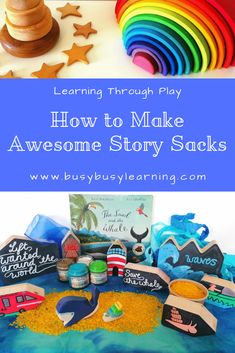 Story Sacks - Ideas and Play - Busy Busy Learning Home Learning, Learning Through Play, Snail And The Whale, Story Sack, Book Baskets, Theme Baskets, Kindergarten, Preschool Literacy, Story Stones