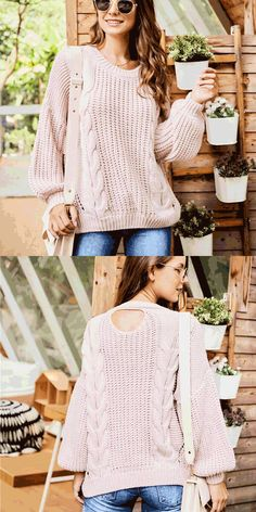 Leisure Round Neck Sweater Long Sleeve Openwork Knitting Twist Women Sweater #sweater #twist #women