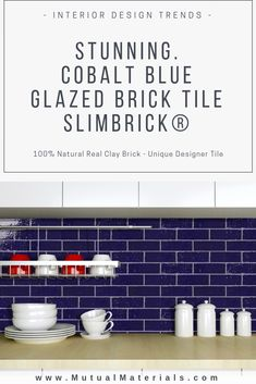 Designer Glazed Slimbrick® thin brick tile merges modern tile w/ timeless texture of natural brick. Kitchen Interior, Kitchen Design, Painted Brick Walls, Glazed Brick, Thin Brick, Brick Tiles, House Tiles, Visual Texture, Stylish Kitchen