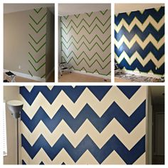 DIY chevron wall // upstairs toilet