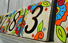 Hand painted house numbers address tiles SPANISH by LuckiiArts, $10.00