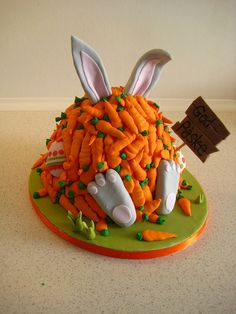 Easter bunny cake covered in carrots!