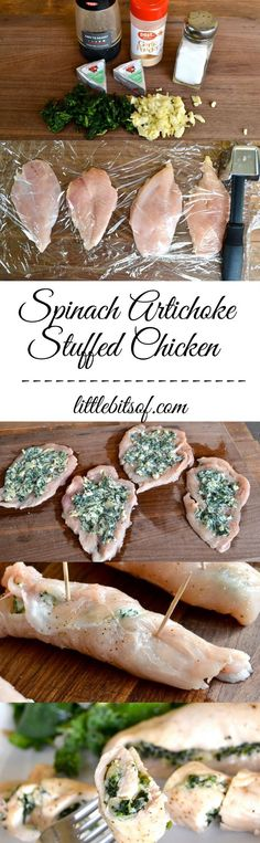 Spinach Artichoke Stuffed Chicken via Little Bits Of