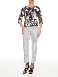 Prints Charming- Mixing a statement jacket with striped pants. Doncaster.com/sward