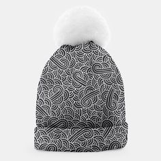 """Black and silver zentangles"" Beanie by Savousepate on Live Heroes #clothing #apparel #accessory #pattern #graphic #modern #bling #abstract #doodles #zentangles #scrolls #spirals #arabesques #black #grey #gray #silver"