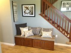 Perfect bench seat for an entrance area. The base cabinet storage would be great for shoes!