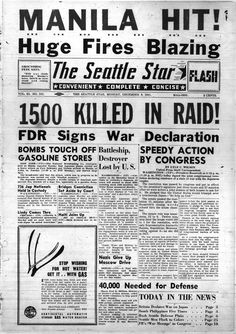 Seattle Star front page, December 8, 1941. The Japanese leadership thought that the Pearl Harbor attack would strike such a decisive blow that the U.S. would concede the war.  The Japanese sank or damaged 188 aircraft, eight U.S. Navy battleships, three destroyers, three cruisers, and one minelayer. They killed 2,403, including 68 civilians, and wounded 1,178. The Japanese didn't count on the attack as a rallying point for Americans that motivated them to fight.