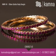 Best prices and range of designs with Antique Ruby Stones. Best prices and range of designs with Antique Ruby Stones. Plain Gold Bangles, Ruby Bangles, Gold Bangles Design, Gold Earrings Designs, Jewelry Design, Bangle Bracelets, Designer Jewellery, Ruby Jewelry, Gold Jewelry