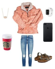 """""""Coral"""" by lizakappil on Polyvore featuring True Grit, J Brand, Birkenstock and Kendra Scott"""
