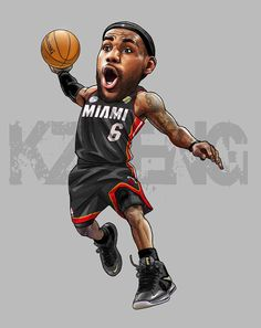 Lebron James by Kevin Deng, via Behance Sports Art, Miami Heat, King James, Nba Basketball, Lebron James, Chibi, Funny Pictures, Superhero, Hate
